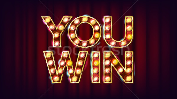 You Win Banner Vector. Casino Vintage Golden Illuminated Neon Light. For Web Game, Mobile Game Desig Stock photo © pikepicture