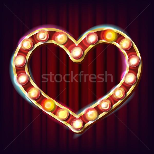 Foto stock: Dourado · coração · quadro · vetor · elétrico