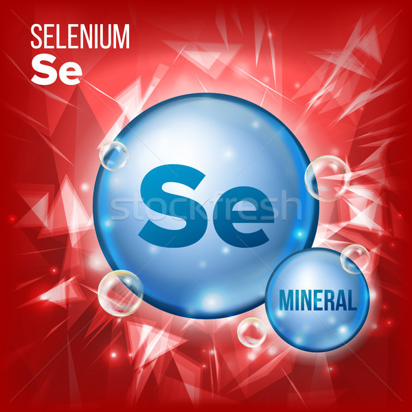 Se Selenium Vector. Mineral Blue Pill Icon. Vitamin Capsule Pill Icon. Substance For Beauty, Cosmeti Stock photo © pikepicture
