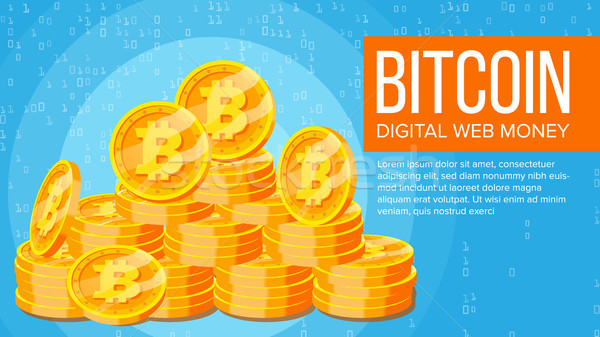 Bitcoin Banner Vector. Electronic Web Money. Gold Coins Stacks. Business Crypto Currency. Cyber Cash Stock photo © pikepicture