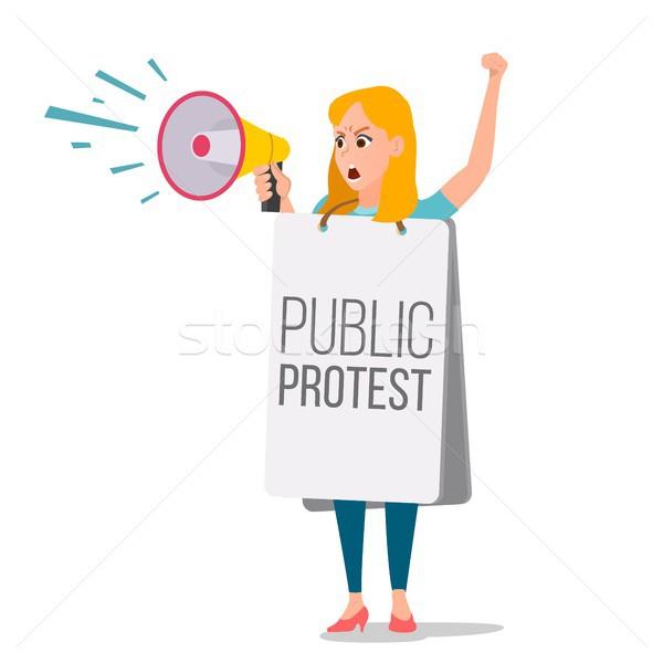 Woman Shouting Through Loud Speaker Vector. Leadership Female Speech. People On Strike. Demonstratio Stock photo © pikepicture