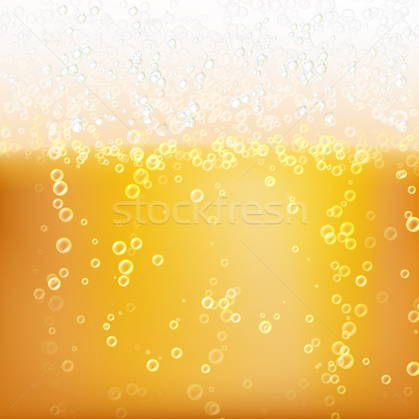 Beer Background Texture With Foam And Vubbles. Macro Of Frefreshing Beer. Vector Illustration Stock photo © pikepicture