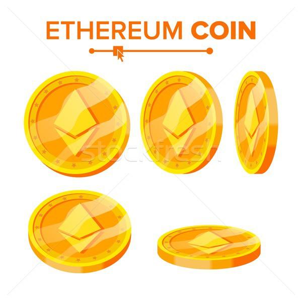 Золотые монеты вектора набор различный виртуальный деньги Сток-фото © pikepicture