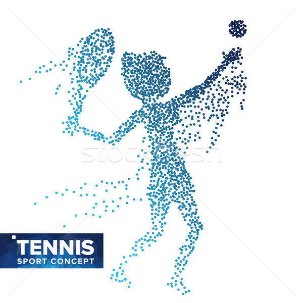 Tennis Player Silhouette Vector. Halftone Dots. Dynamic Tennis Athlete In Action. Flying Dotted Part Stock photo © pikepicture