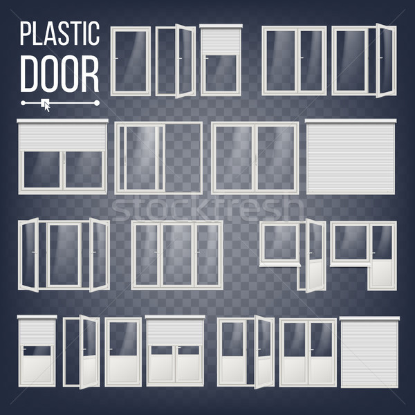 Plastic Door Vector. Plastic Door Frame. Energy Saving. Different Types. Interior, Exterior Element. Stock photo © pikepicture