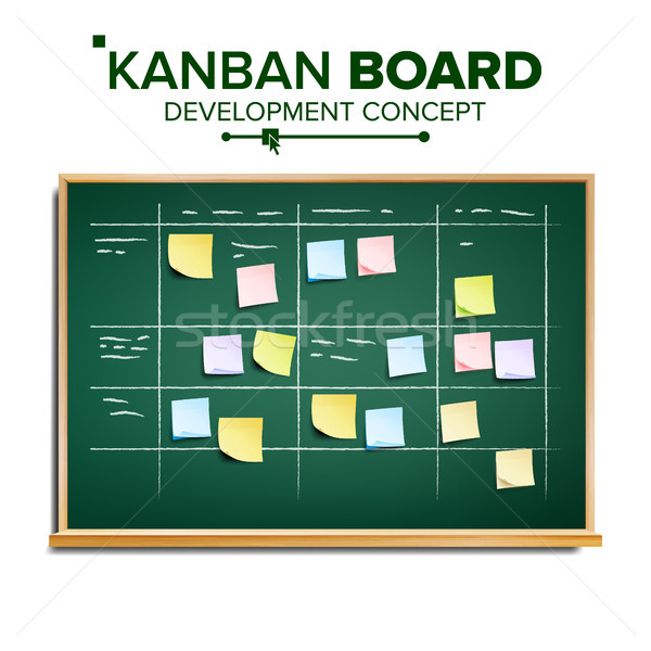 Scrum Task Board Vector. Hanging Scrum Task Board. Startup Development Process. Full Tasks To Do Lis Stock photo © pikepicture
