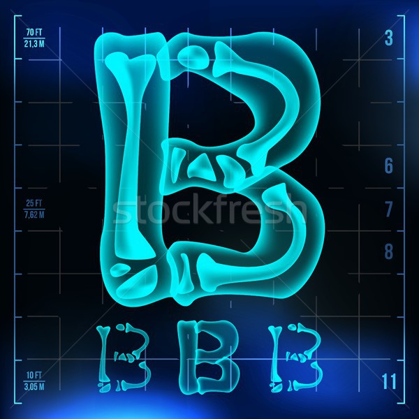 B Letter Vector. Capital Digit. Roentgen X-ray Font Light Sign. Medical Radiology Neon Scan Effect.  Stock photo © pikepicture