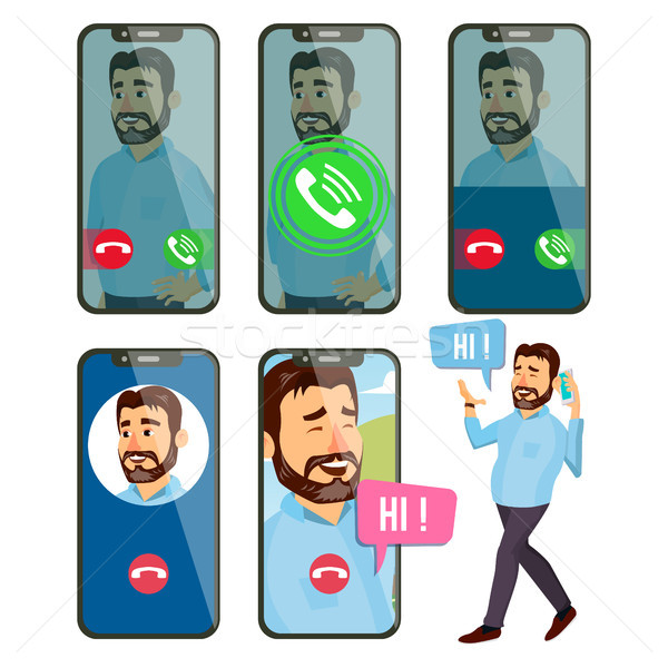 Online Call Vector. Man Face. Mobile Smartphone Screen. Video, Voice Chatting Online. Speaking. Call Stock photo © pikepicture