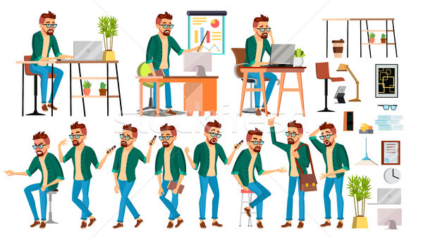 Business Man Character Vector. Hipster Working People Set. Office, Creative Studio. Worker. Full Len Stock photo © pikepicture