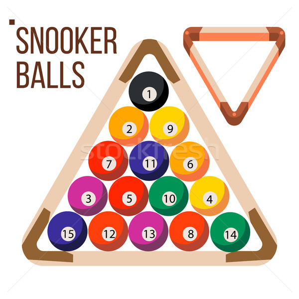 Pool Billiard Balls Vector. Snooker. Wooden Rack. Isolated Flat Illustration Stock photo © pikepicture