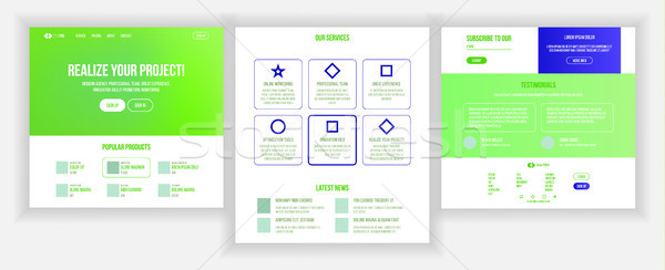Website Page Vector. Business Website. Web Page. Landing Design Template. Achieve The Goal. Donation Stock photo © pikepicture