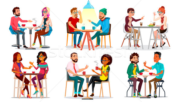 Friends In Cafe Vector. Man, Woman, Boyfriend, Girlfriend. Sitting Together And Drinking Coffee. Bis Stock photo © pikepicture