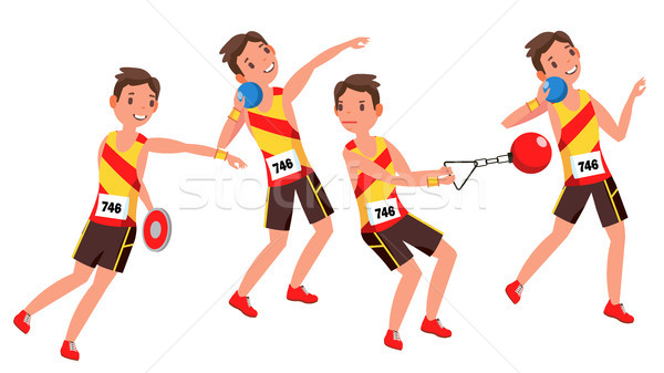 Athletics Young Man Player Vector. Man. Sportsman Win Concept. Various. Race Competition. Hurdle lon Stock photo © pikepicture