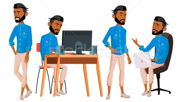 Arab Man Office Worker Vector. Arabic Traditional Clothes. Ghutra. Business Set. Facial Emotions, Ge Stock photo © pikepicture