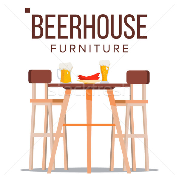 Beer House Furniture Vector. Pub. Beery Party Design Element. Brewery Wooden Table, Chairs, Beer Mug Stock photo © pikepicture