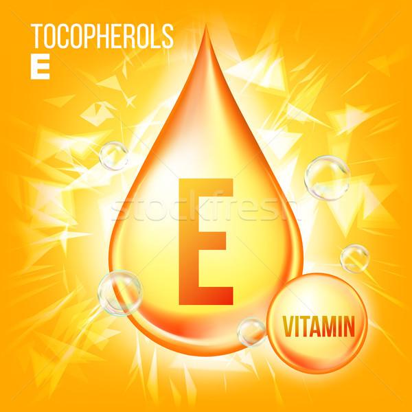 Vitamin E Tocopherols Vector. Vitamin Gold Oil Drop Icon. Organic Gold Droplet Icon. Medicine Liquid Stock photo © pikepicture