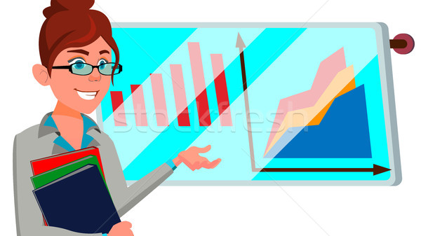 Broker Female Vector. Successful Stock-market Broker. Dynamics Of Financial Growth. Graphs, Indexes. Stock photo © pikepicture