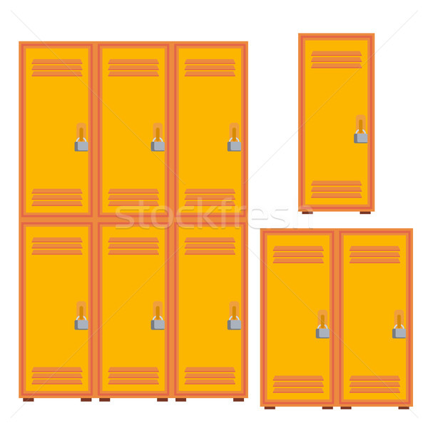 Classic School Locker, Metal Cabinet Icon Vector. Isolated Cartoon Illustration Stock photo © pikepicture