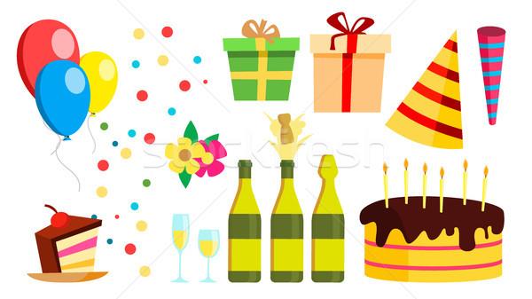 Festa di compleanno design elementi vettore celebrazione Hat Foto d'archivio © pikepicture