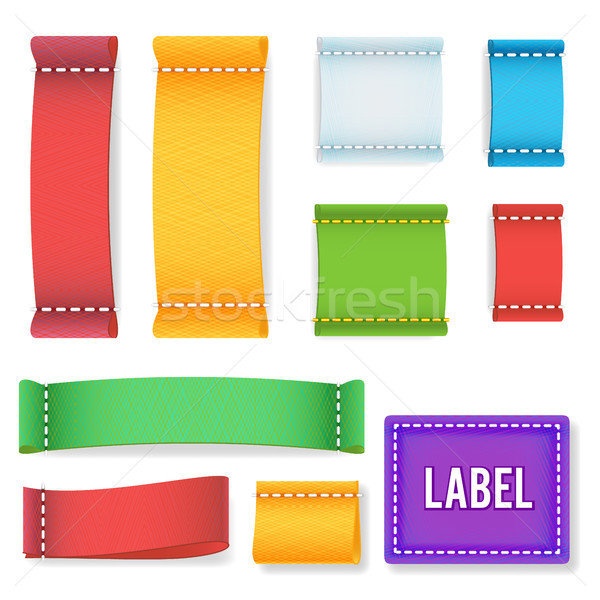 Color Label Fabric Blank Vector. Realistic Fabric Clothing Labels Set. Ready Template For Text And D Stock photo © pikepicture
