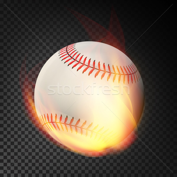 Flaming Realistic Baseball Ball On Fire Flying Through The Air. Burning Ball On Transparent Backgrou Stock photo © pikepicture