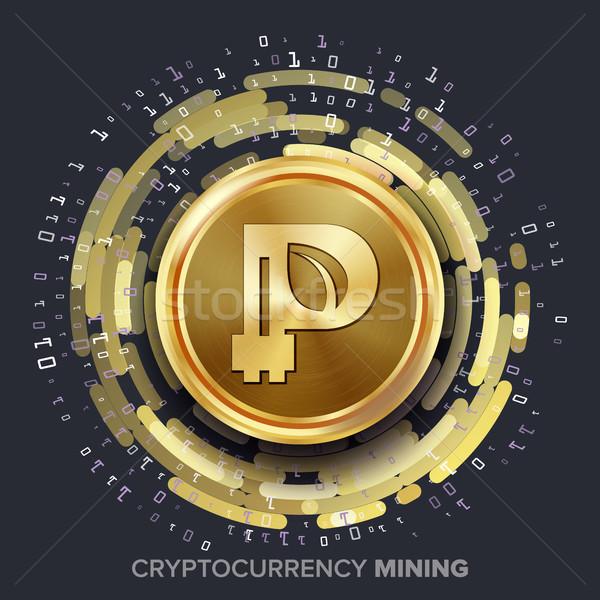 Mining Peercoin Cryptocurrency Vector. Golden Coin, Digital Stream. Futuristic Money. Fintech Blockc Stock photo © pikepicture