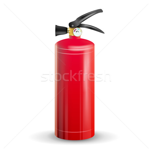 Classic Fire Extinguisher Vector. Metal Glossiness 3D Realistic Red Fire Extinguisher Isolated Illus Stock photo © pikepicture
