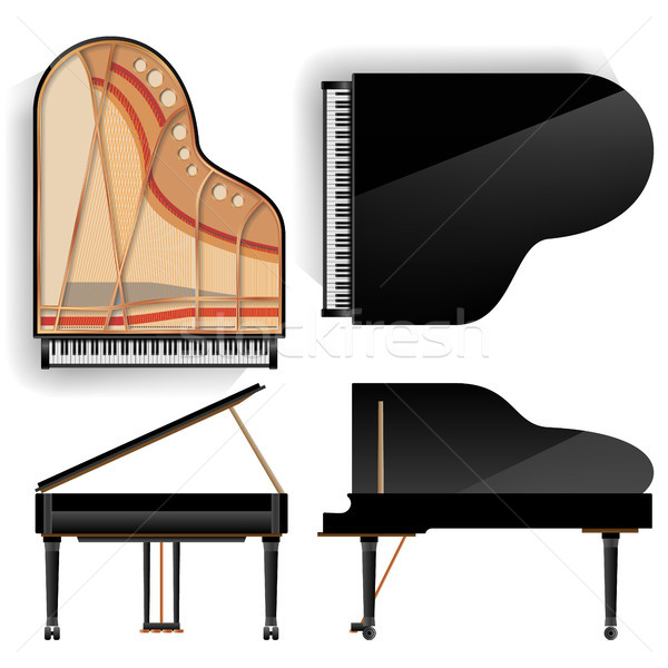 Grand Piano Set Vector. Realistic Black Grand Piano Top And Back View. Opened And Closed. Isolated I Stock photo © pikepicture