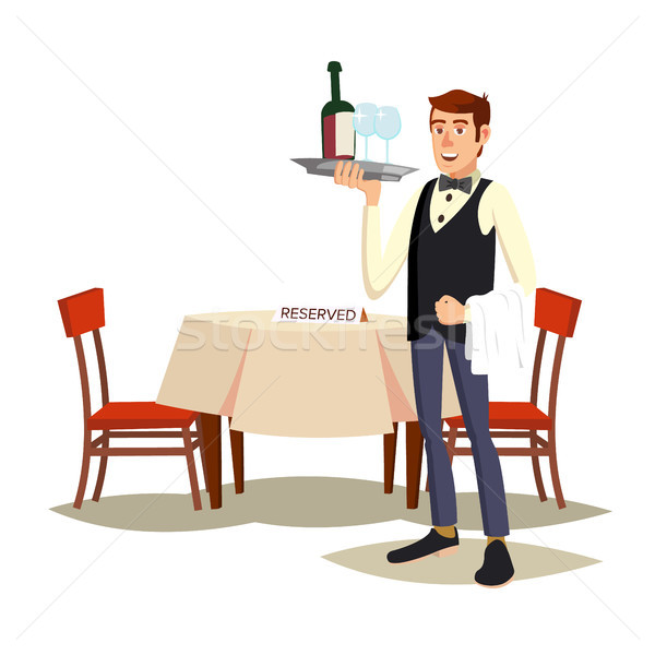 Waiter In Cafe Vector. Professional Waiter. Dinner Date. Food, Drink Concept. Isolated On White Cart Stock photo © pikepicture