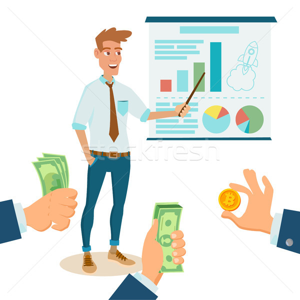 Crowdfunding, Start Up Vector. Donate Money. New Start Up Project. Creative Idea. It Business Flat C Stock photo © pikepicture