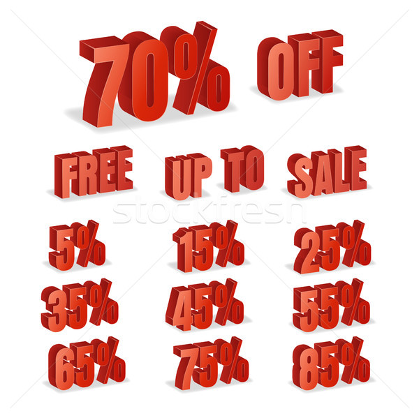 Discount Numbers 3d Vector. Red Sale Percentage Icon Set In 3D Style Isolated On White Background. F Stock photo © pikepicture
