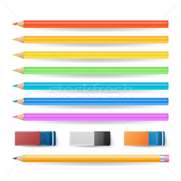 Renkli kalemler yalıtılmış ayarlamak vektör gerçekçi Stok fotoğraf © pikepicture