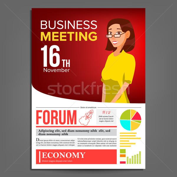 Iş toplantısı poster vektör iş kadını düzen tanıtım Stok fotoğraf © pikepicture