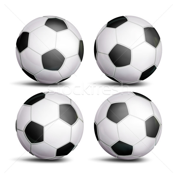 Realistic Football Ball Set Vector. Classic Round Soccer Ball. Different Views. Sport Game Symbol. I Stock photo © pikepicture