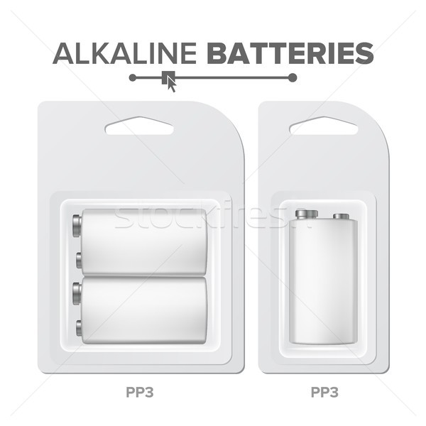 PPS Batteries Packed Vector. Alkaline Battery In Blister. Realistic Glossy Battery Accumulator. Mock Stock photo © pikepicture