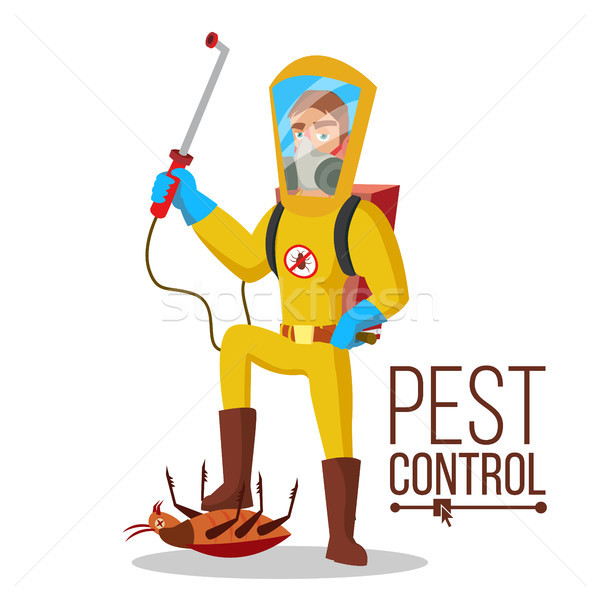 Pest Control Service Vector. Sanitation, Cleaner Washing. Pest Removal. Exterminator Of Insects. Fla Stock photo © pikepicture
