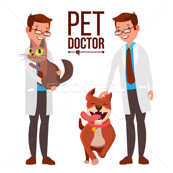 Veterinarian Male Vector. Dog And Cat. Medicine Hospital. Pet Doctor. Health Care Clinic Concept. Is Stock photo © pikepicture