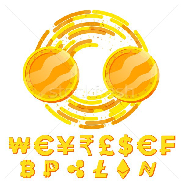 Money Currency Exchange Blank Concept Vector. Fintech Blockchain. Golden Coins With Digital Stream.  Stock photo © pikepicture