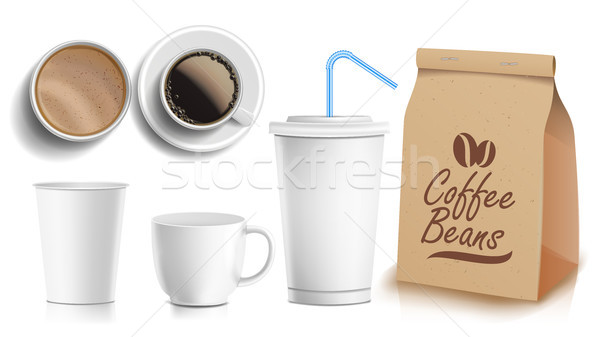 Coffee Packaging Design Vector. Cups Mock Up. White Coffee Mug. Ceramic And Paper, Plastic Cup. Top, Stock photo © pikepicture