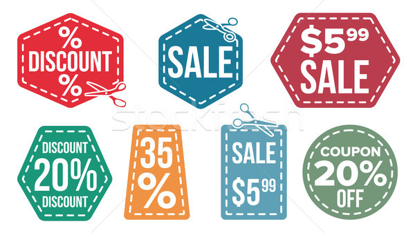 Sale Banners Set Vector. Scissor Line. Discount Coupon. Discount Tag. Cut Crop Border. Flat Isolated Stock photo © pikepicture