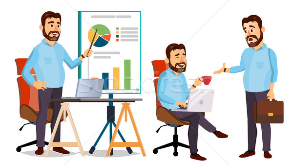 Boss Working Character Vector. Working Male. Modern Office Workplace. Animation Work. Cartoon Busine Stock photo © pikepicture