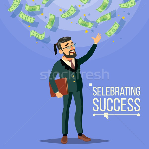 Happy Businessman Vector. Falling Money. Cash Rain. Flat Cartoon Character Illustration Stock photo © pikepicture