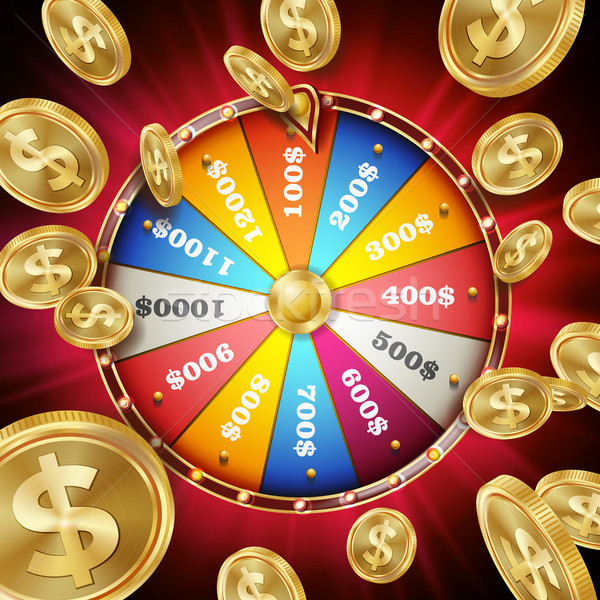 Wheel Of Fortune Poster Vector. Spinning Lucky Roulette. Gambling Background. Bright Lottery Leisure Stock photo © pikepicture