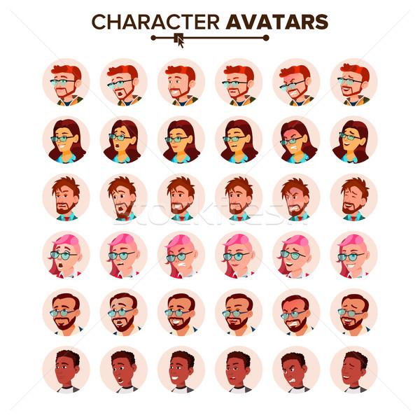 Ludzi avatar zestaw wektora człowiek kobieta Zdjęcia stock © pikepicture
