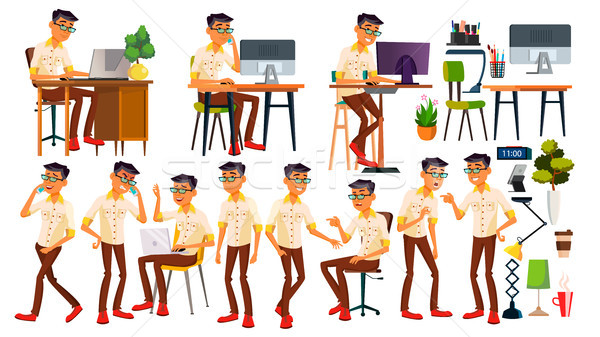 Office Worker Vector. Thai, Vietnamese. Face Emotions, Gestures. Animated Elements. Poses. In Action Stock photo © pikepicture