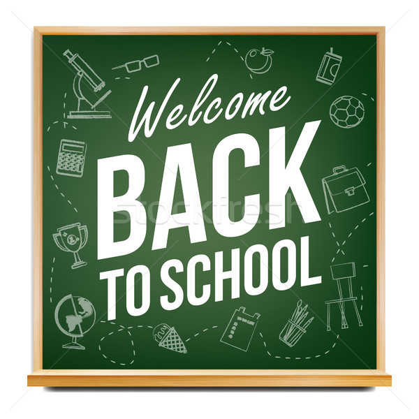 Back To School Banner Vector. Classroom Blackboard. Sale Background. Welcome. Education Related. Rea Stock photo © pikepicture