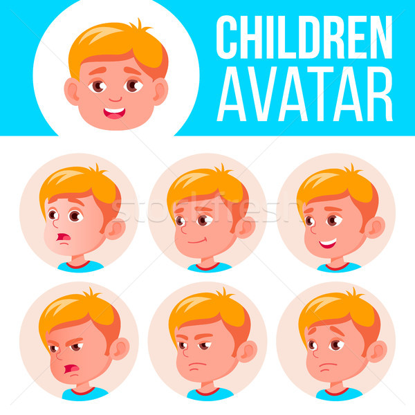 Boy Avatar Set Kid Vector. Kindergarten. Face Emotions. Emotional, Facial, People. Fun, Cheerful. Ad Stock photo © pikepicture