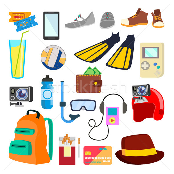 Travel Icons Vector. Summer Time. Holidays, Vacation. Tourism Items, Objects. Isolated Flat Cartoon  Stock photo © pikepicture