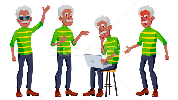 Old Man Poses Set Vector. Black. Afro American. Elderly People. Senior Person. Aged. Positive Pensio Stock photo © pikepicture
