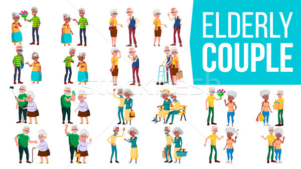 Elderly Couple Set Vector. Grandpa With Grandmother. Lifestyle. Elderly Family. Grey-haired Characte Stock photo © pikepicture